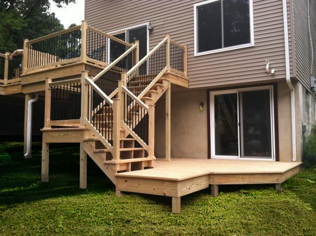 Wood Deck With Metal Railings