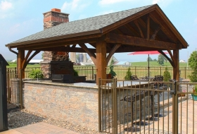 Outdoor kitchen and living area with Pavilion. Pavilion price range: $10,300 - $12,400