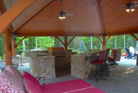 Outdoor living area under pavilion.
