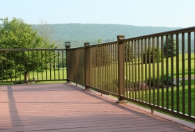 Deck With aluminum Railings. Price range: $450 - $500 per 8' section.